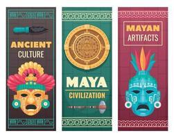 banderas de dibujos animados de la civilización maya vector