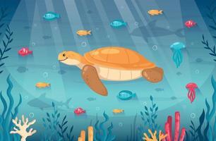 fondo de dibujos animados de buceo bajo el agua vector