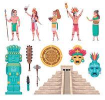 conjunto de dibujos animados de la civilización maya vector