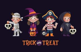 Trick or Treat Character Set vector