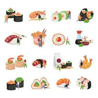 Sushi Flat Icon Set vector