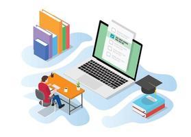 Examen de prueba en línea o en vivo con personas que estudian en la computadora. vector