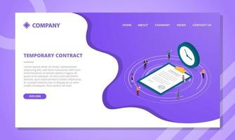 temporary contract concept for website template or landing vector
