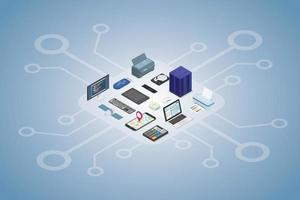 electronic devices set collection with modern flat isometric vector