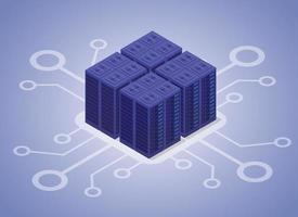 data hosting server with modern flat isometric style vector