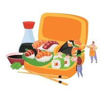 Sushi Flat Composition vector