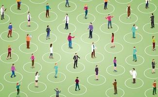 social distancing concept for preventing corona virus vector
