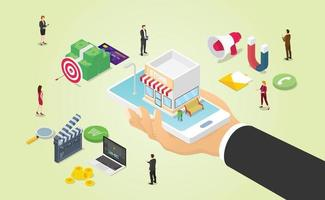 omnichannel business marketing with various media vector