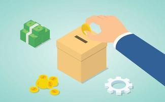 donation concept with hand give money to donate with money vector