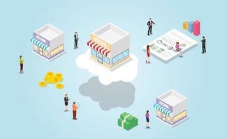 online vs offline store with benefit for online e-commerce vector
