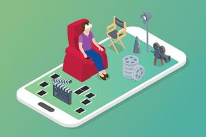 vr virtual reality movies concept with woman sit on chair vector