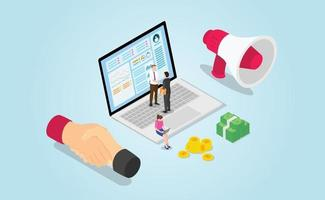 affiliate sales agreement profit for business with modern isometric vector