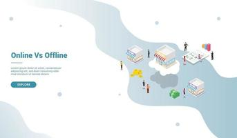 online vs offline store business comparison with modern isometric vector