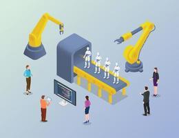 robot massive development with developer people in factory vector
