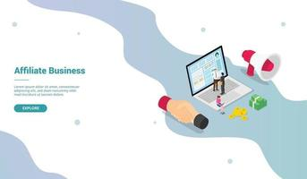 affiliate marketing business profit with modern isometric vector