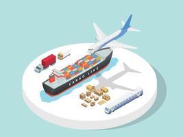 Transportation service third party logistics airplane ship vector