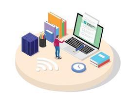 High school university student take online exam using laptop vector