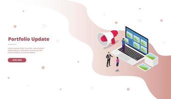 Actualización de cartera hombre cambio de imagen en la campaña de la pantalla del portátil vector