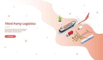 Third party logistics transportation service ship truck plane train vector