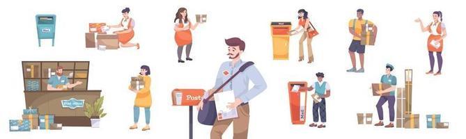 colección de iconos de la oficina de correos vector