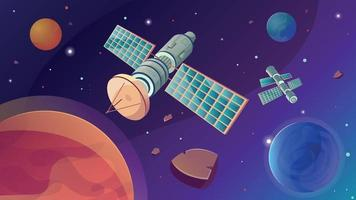Space Satellite Flat Composition vector