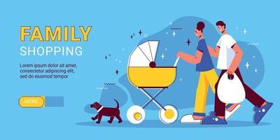 Family Shopping Horizontal Banner vector
