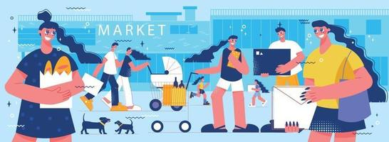 Shopping With Family Composition vector