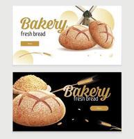 Bread Bakery Horizontal Banners vector