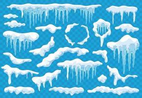 Snow Caps Icicles Transparent Set vector