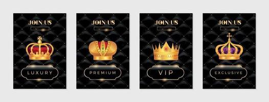 Gold Crown Posters Set vector