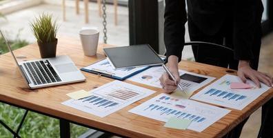 Businesswoman accountant or financial expert analyze business photo