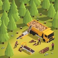 Isometric Sawmill Illustration vector