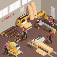Sawmill Isometric Illustration vector