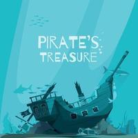 Sunken Pirate Vessel Background vector