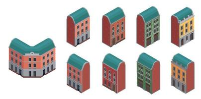 Suburban City Buildings Set vector