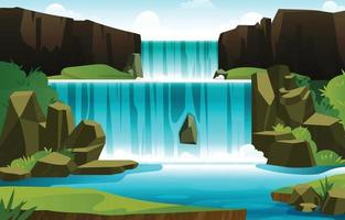 Natural Waterfall in Spring Season Illustration vector