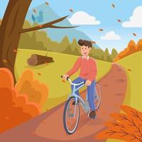 hombre en bicicleta durante el otoño vector