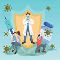 activismo-covid-19 después del concepto de vacuna vector