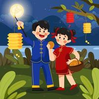 Children Celebrating Mid Autumn Festival with Mooncake and Lanterns vector