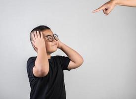Boy feels sad after the parents scold him photo