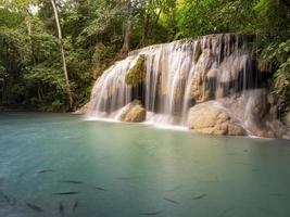 Clean green emerald water from the waterfall Surrounded photo