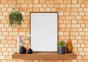 Sala de estar y muebles 3d con marco de fotos en blanco