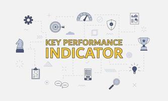 Concepto de indicador clave de rendimiento de kpi con conjunto de iconos con palabra grande vector
