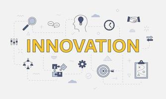 innovation concept with icon set with big word or text vector