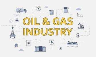 oil and gas industry concept with icon set with big word vector