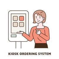 A woman is introducing a kiosk. vector