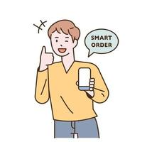 A man is placing an order on a mobile phone vector