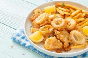 Plate of calamari and fries photo