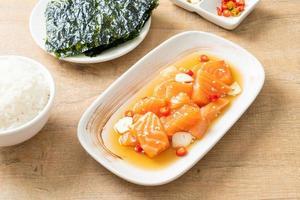 Raw marinated shoyu or salmon pickled soy sauce photo