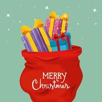 merry christmas poster with gift boxes and bags presents vector